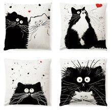 ¡Novedad! funda de cojín para cintura y sofá de algodón con diseño de gato y perro blanco y negro Vintage