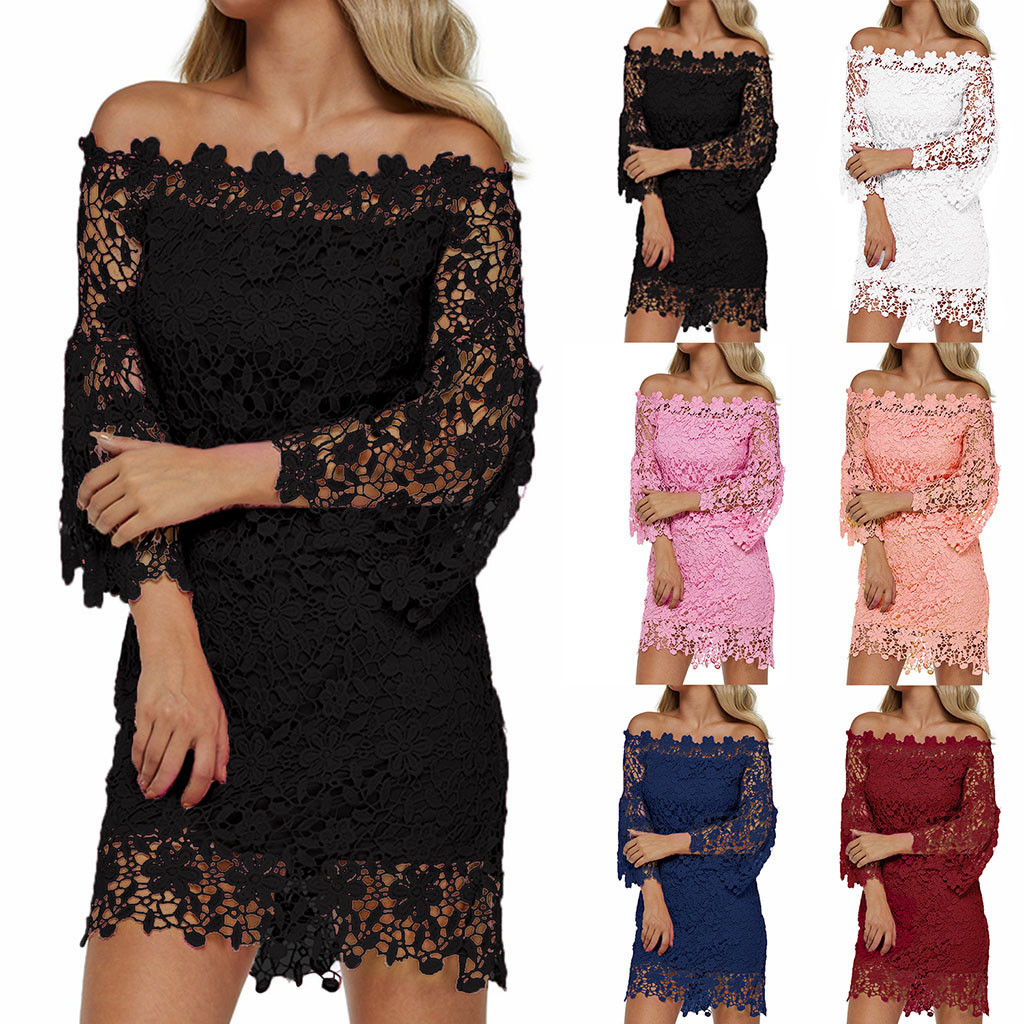 2020 sukienki vestidos plus size Ladies Solid Color Sleeve Cutout Lace winter dress robe hiver femme robe femme