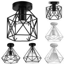Lámpara de techo Vintage con jaula de hierro para lámpara de techo con bombilla LED E27 iluminación nórdica para el hogar