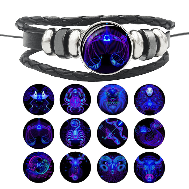 12 Constellation Zodiac Sign Black Buckle Leather Bracelet Cancer Leo Libra Woven Glass Dome Jewelry Punk Men Women Bracelet