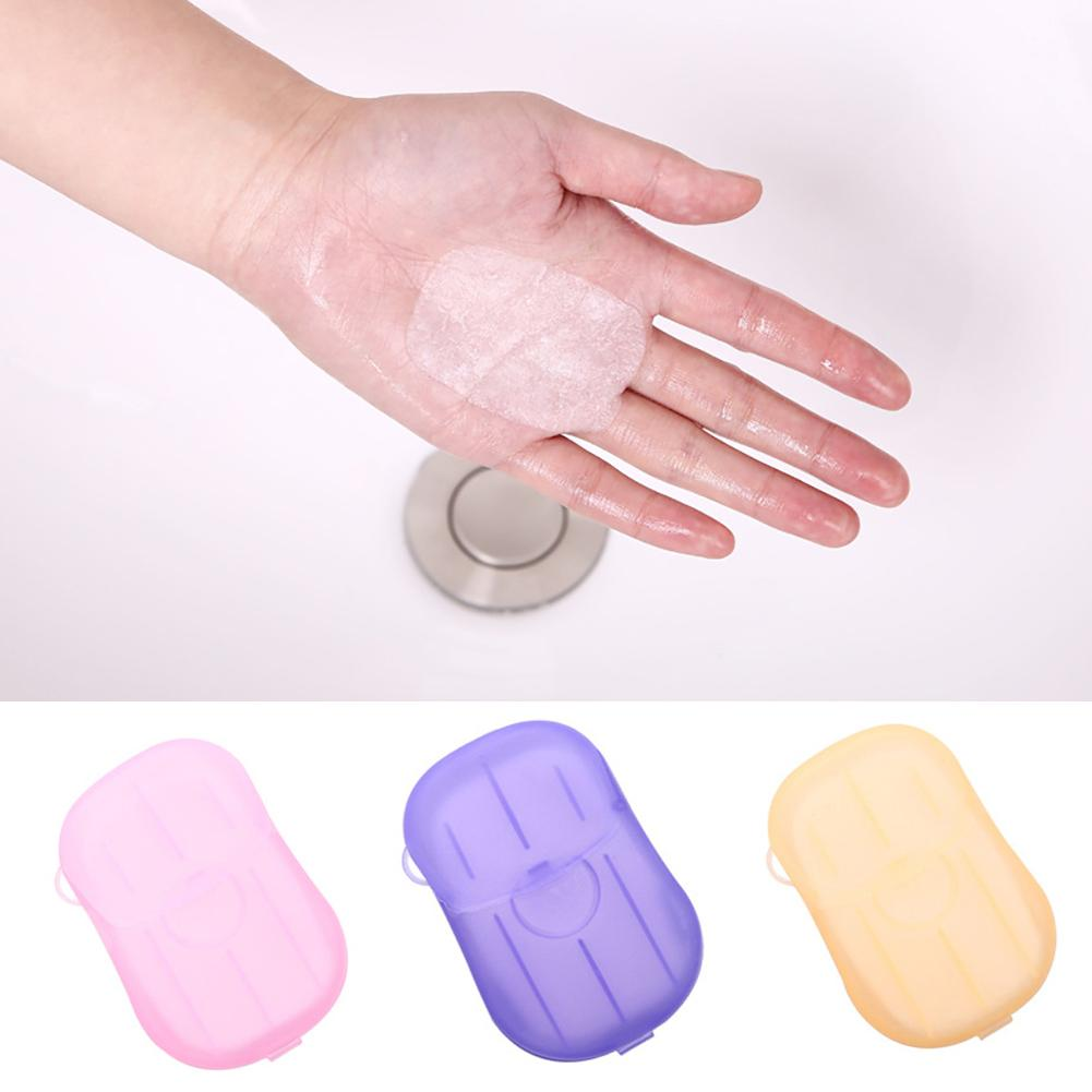 20Pcs Portable Hand Washing Soap Paper Travel Camping Portable Soap Tablets Disposable Soap Paper Bath Tablets