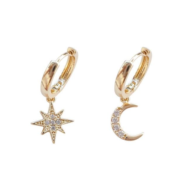Zciti assimétrico estrela e lua brincos femininos geométrico brincos de ouro casamento 2020 diamantes para mulher 4