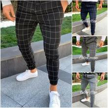 sexy high wasit spring summer fashion pocket Men's Slim Fit Plaid Straight Leg Trousers Casual Penci