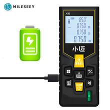 Mileseey mini medidor de distância a laser, medidor de distância a laser medidor digital de fita métrica diastímetro ferramenta 100m/80m/60m telêmetro laser de-40m