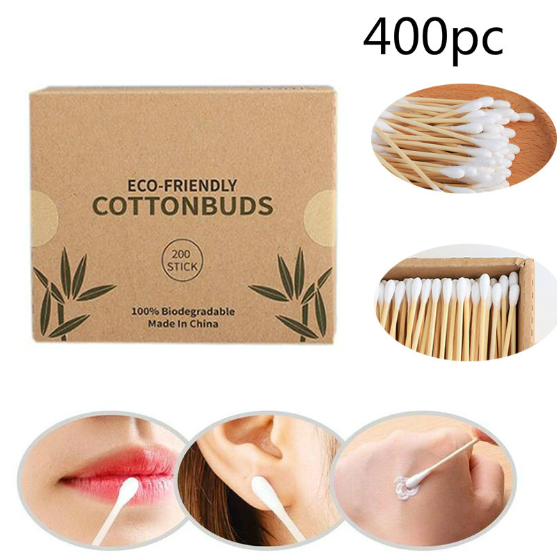 400pc Double Head Cotton Swab Bamboo Cotton Swab Wood Sticks Disposable Buds Cotton For Beauty Makeup Nose Ears Cleaning