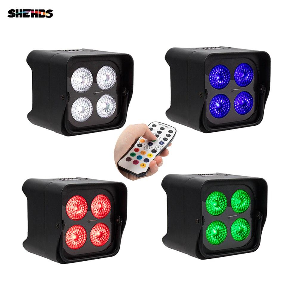 4x18W RGBWA UV 6in1 LED Uplight Battery Wireless Par Light Wifi&IR Remote Control DMX Uplighting DJ Wash Disco Wedding Stage