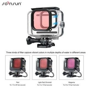 Image 4 - SOONSUN 45M Wasserdichte Schutz Gehäuse Tauchen Fall mit Dive Farbe Objektiv Filter für GoPro Hero 8 Schwarz Zubehör