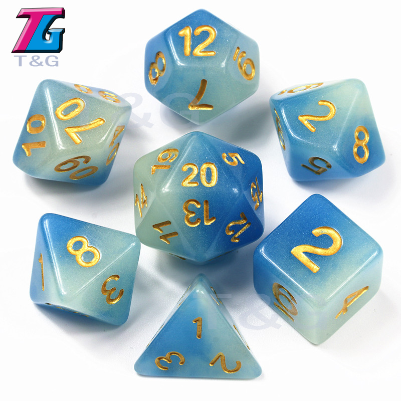 New Arrival Mix-color Glow In Dark Dice,Blue Color 7 Pc/set,  D4 D6 D8 D10 D10% D12 D20 For Dungeons And Dragons,DND Board Game