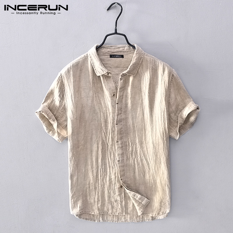 Leisure Hot Mens Breathable Stripe Summer Short Sleeve Loose Buttons Casual Shirt