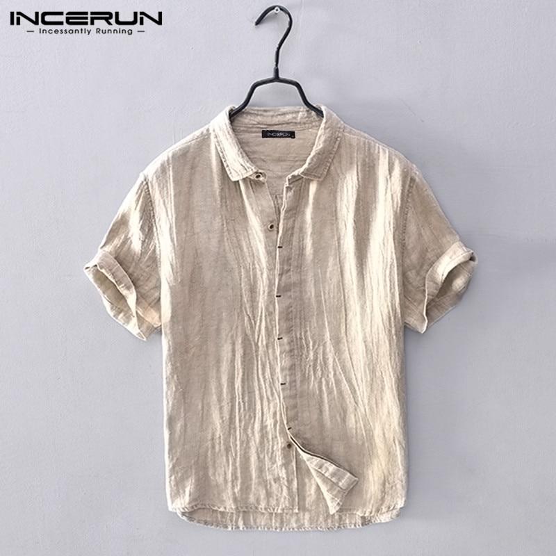 INCERUN 2020 Men Short Sleeve Shirt Solid Cotton Leisure Lapel Tops Button Summer Streetwear Camisa Masculina Harajuku Shirts