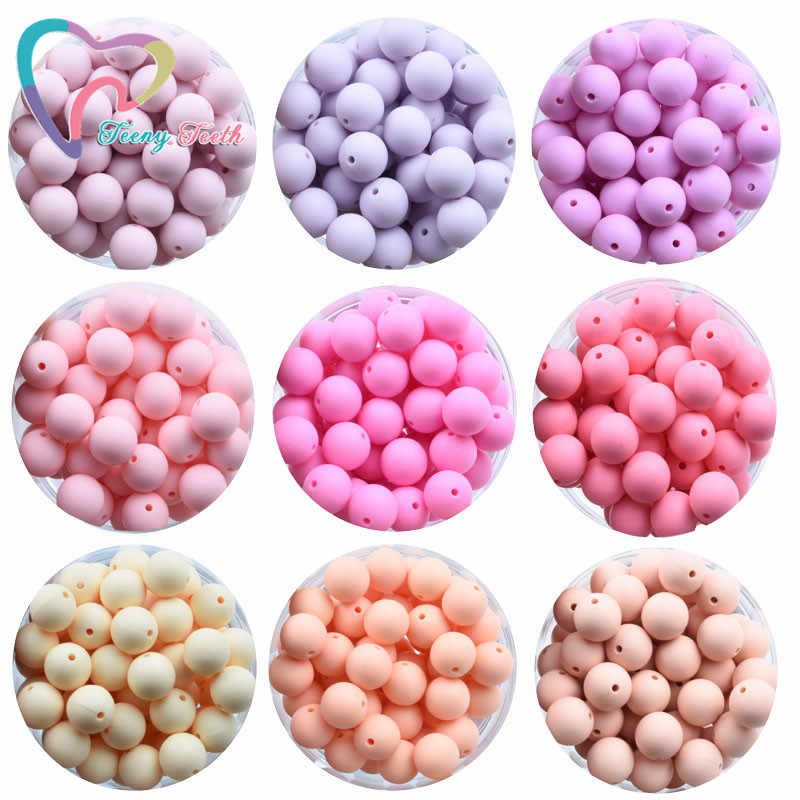 37 Warna 100 Pcs 15 Mm Bpa Gratis Bulat Manik-manik Silicone Teether Bead Bayi Tumbuh Gigi Perawatan Mulut Chewable Beads DIY dot Klip Mainan