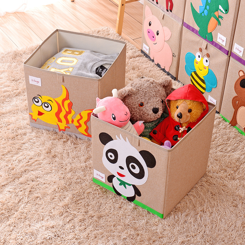 Embroidery Storage Box Cartoon Animal Folding Large Laundry Basket Sundries Children Clothes Toys Book Storage Organizer