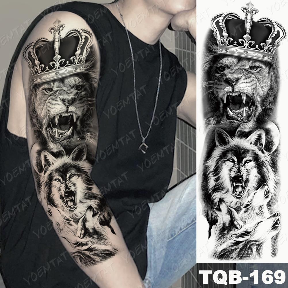 Large Arm Sleeve Tattoo Lion Crown King Rose Waterproof Temporary Tatoo Sticker Wild Wolf Tiger Men Full Skull Totem Tatto 2