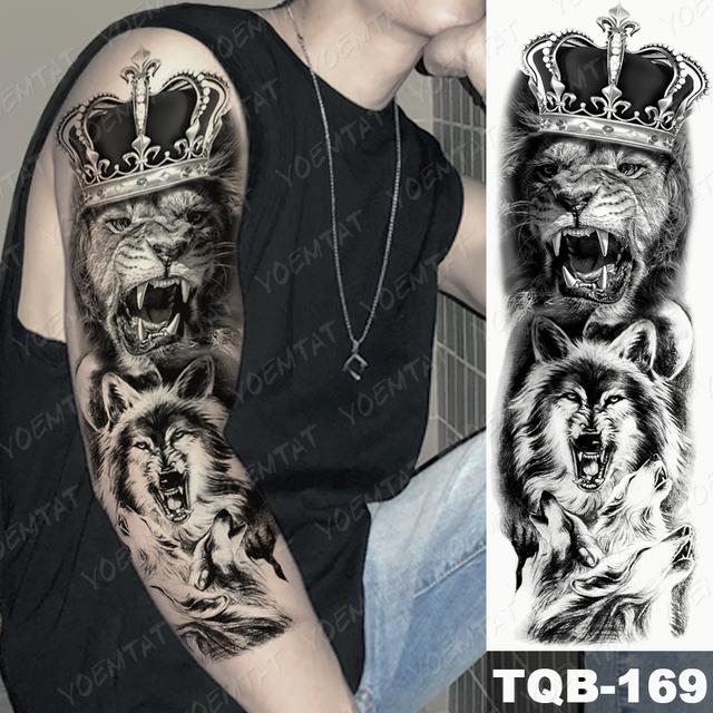 Large Arm Sleeve Tattoo Lion Crown King Rose Waterproof Temporary Tatoo Sticker Wild Wolf Tiger Men Full Skull Tatto