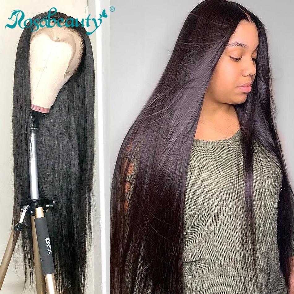 Rosabeauty brasileiro em linha reta frente do laço glueless perucas de cabelo humano pré arrancadas para preto 28 30 40 Polegada completa peruca frontal 360