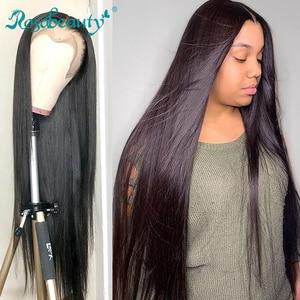 Rosabeauty, бразильские прямые бесклеевые парики из натуральных волос на фронтальной основе, предварительно выщипанные, для черных женщин, 28, 30 д...