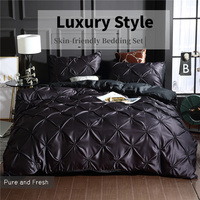 European Style Washed Silk Luxury Bedding 3 Pieces Black Blue Red Quilt Cover King With Pillowcase Solid Double Duvet Cover Set