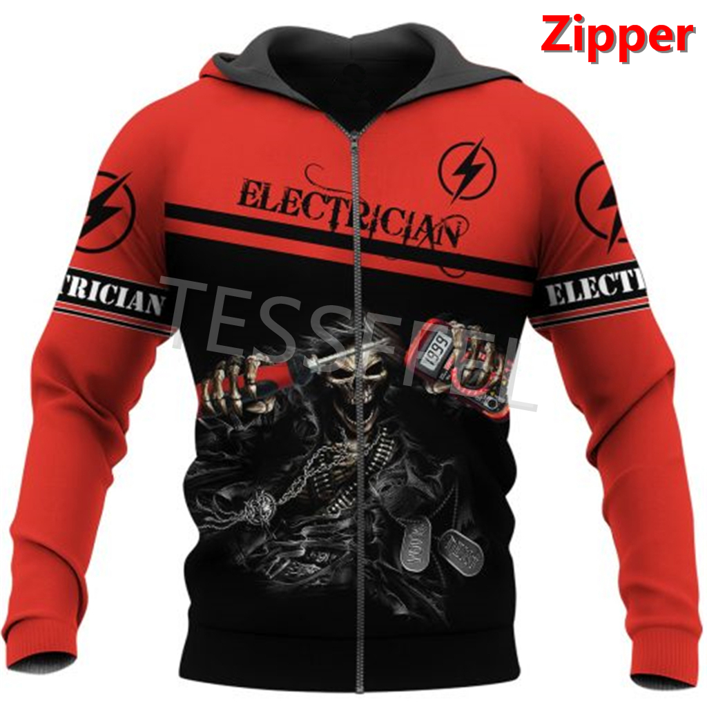 Tessffel Professional Electrician and Welder 3d Printed Hoodies Jacket Sweatshirts Zipper Casual Pullover Tracksuit Coat E2 5