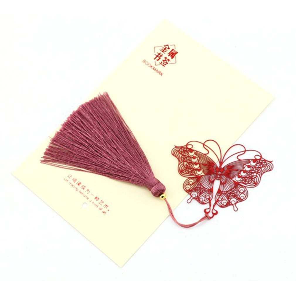 Dancing Dance Butterfly Metal Art Creative Hollow Stainless Steel Fringe Classical Chinese Style Creative Gift Bookmark