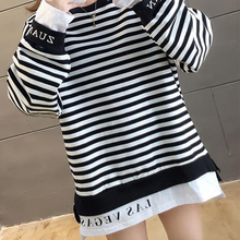 YOSO Ready Stock Women Long t-shirt Long-Sleeved Striped Shirt Big Fire Cec Edition Loose Fake Two Sweater Lazy Style