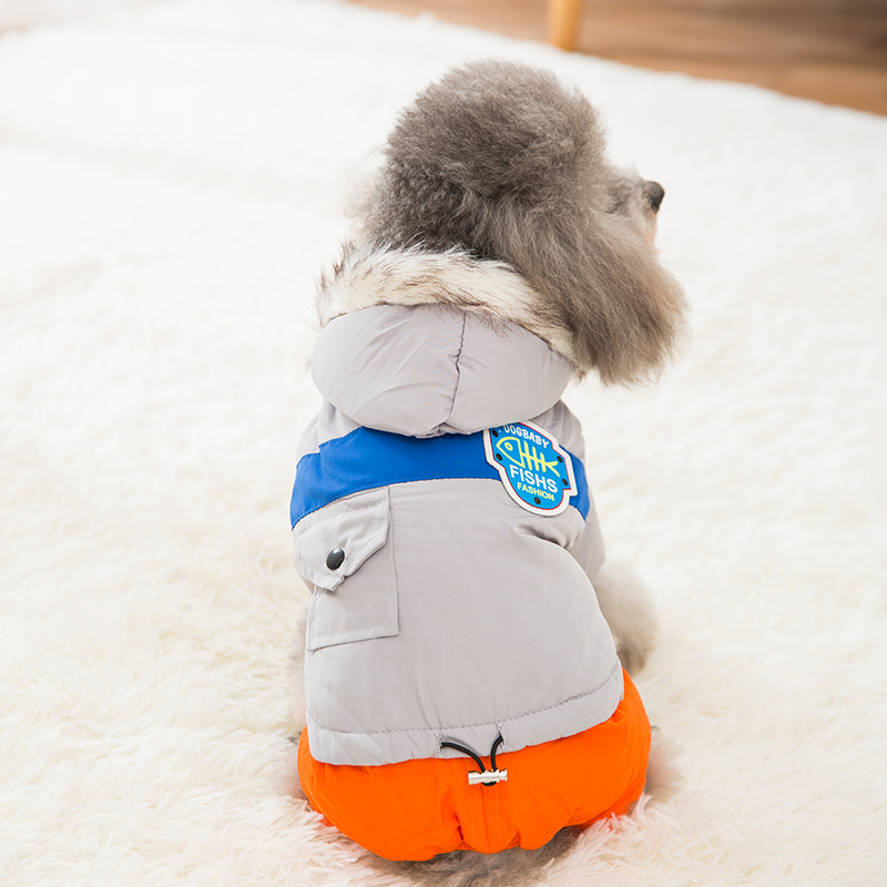 Hipidog Fashion Thicken Cotton Four Legs Winter Dog Coats with Hoodie Puppy Clothes for