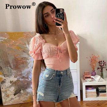 Square Neck Lace-up Ruched Casual Blouse Women 2020 Short Lantern Sleeve Slim Ruffle Summer Top Backless Sweet Vogue Pink Tops