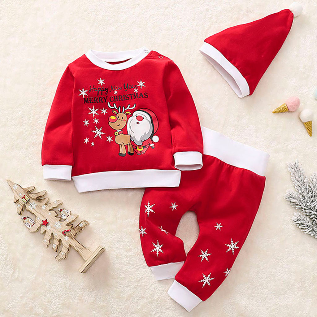 Unisex Baby Kids Santa Claus Tops+Pants Clothes Xmas Outfits Pajamas Tracksuits
