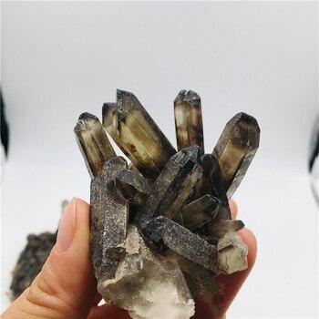 Натуральный дымчатый кварцевый кластер, черное Хрустальное Кластерное украшение, целебная колонна, радиационно-стойкое украшение, ремесла