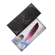 European Water Feather Pen Gift Box Set Short Hair + Holder Ink Tip Stationery Smooth Head