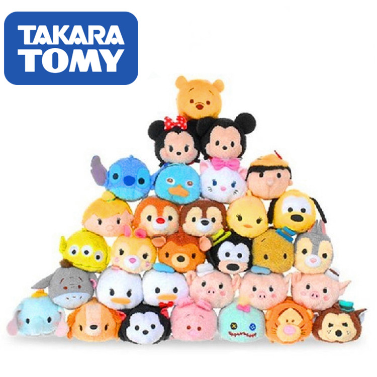 TOMY Tsum Stacked Le Mickey Minnie Donald Duck Daisy Stitch Screen Wipe Pendant Claw Machine Doll Plush Toy Christmas Present