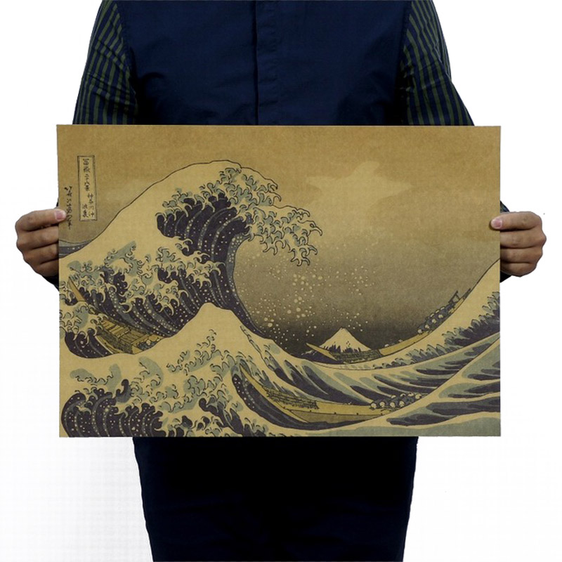 Japan Kanagawa Epic Masterpiece Float World Draw Vintage Kraft Paper Poster School Decor Wall Decals Art DIY Retro Decor Prints