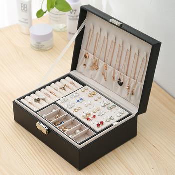 2020 nowe dwuwarstwowe aksamitne pudełko na biżuterię europejskie pudełko do przechowywania biżuterii duża przestrzeń stojak na biżuterię pudełko tanie i dobre opinie CN (pochodzenie) Storage JCAC 17cm 23cm Opakowanie i wyświetlacz biżuterii Przypadki i wyświetlacze 790g Skórzane Jewelry box