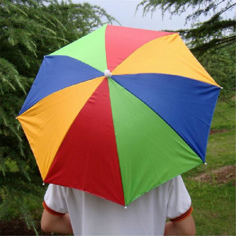 Ladies Mens Adult Multi Colour Festival Essential Umbrella Rain Hat Fancy Dress Q6PD