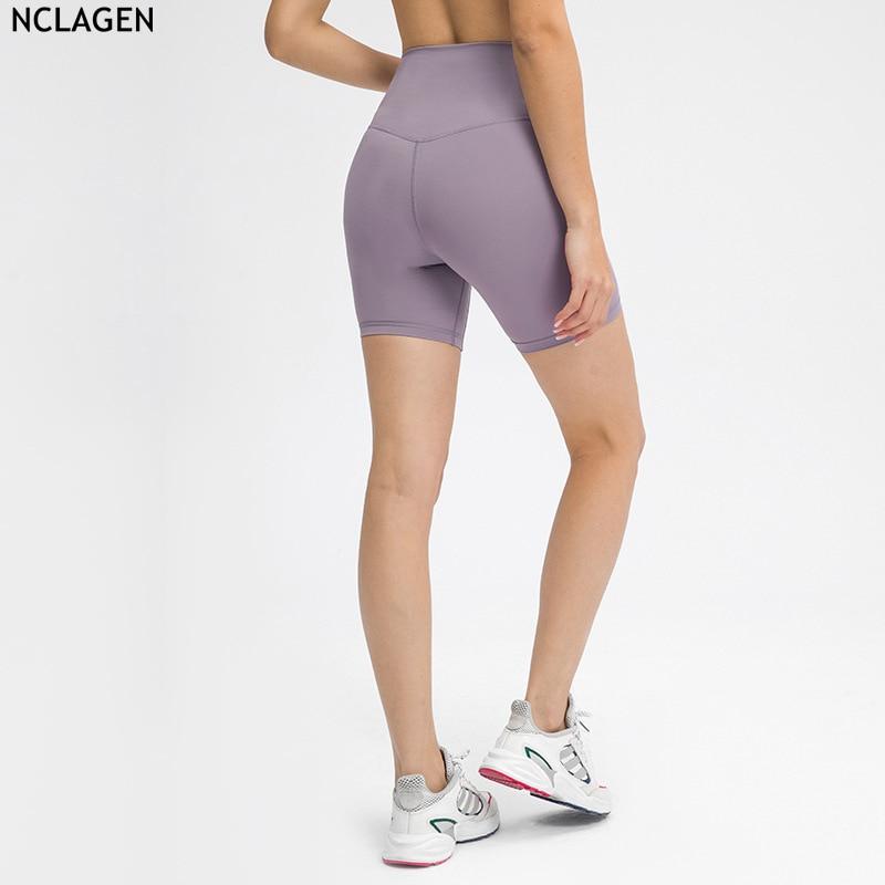 NCLAGEN 2021 весна-лето однотонные спортивные цветные шорты для йоги для тренировок в тренажерном зале для бега однотонные без верблюжьего носка...