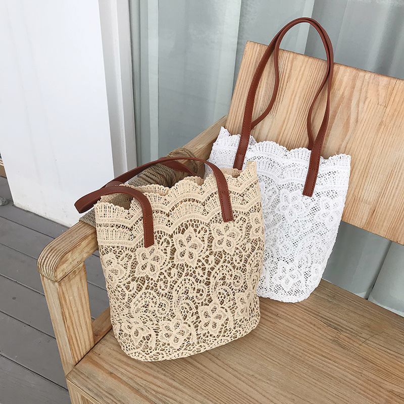 2020 New Summer 2 Pcs/Sets Chic Girl Lace Shoulder Bag Women Handbag Female Tote Bags Big Capacity Foldable Travel Beach Bag