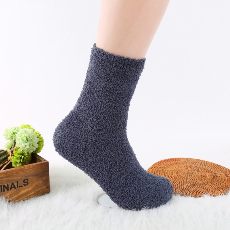 Sleeping Sex Socks For Men With Fur Solid Color Catch Warm Winter Soft Comfortable Home Sock For Mens For Christmas Gifts