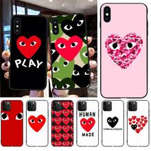 CUTEWANAN Fashion brand CDG DIY Painted Bling Phone Case for iPhone 11 pro XS MAX 8 7 6 6S Plus X 5S SE 2020 XR case nbdruicai japanese fashion brand diy painted bling phone case for iphone 11 pro xs max 8 7 6 6s plus x 5s se 2020 xr case