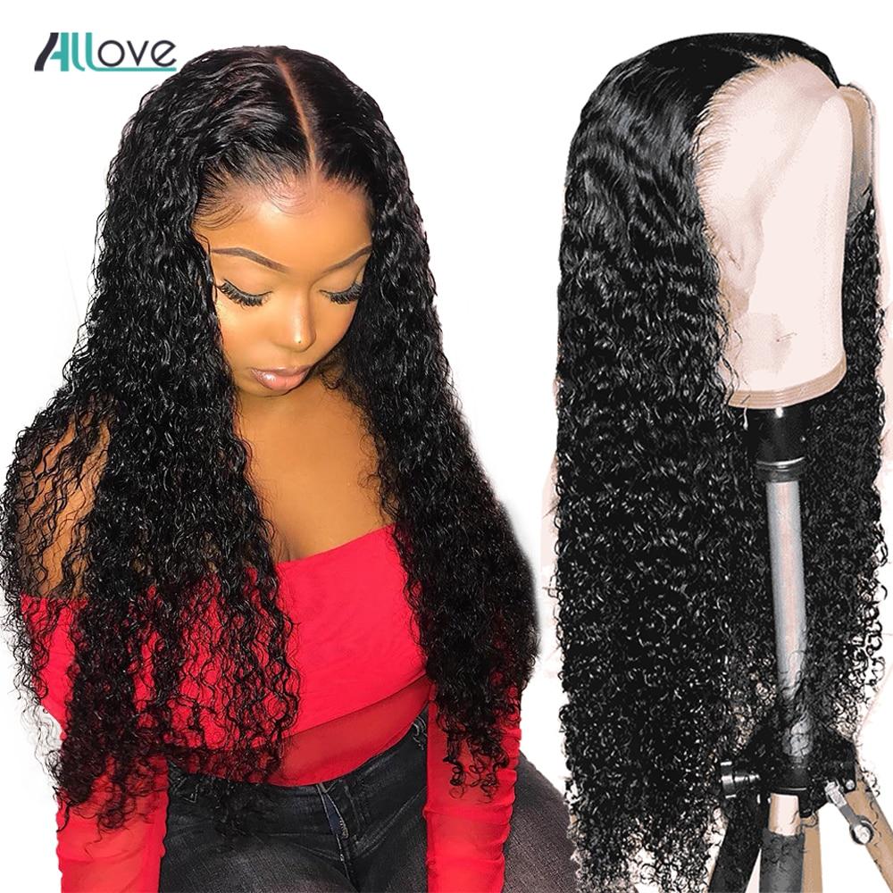 Allove brasileiro onda profunda encerramento peruca pré arrancadas profunda peruca dianteira do laço encaracolado 180% densidade 13x4 onda profunda peruca frontal cabelo humano