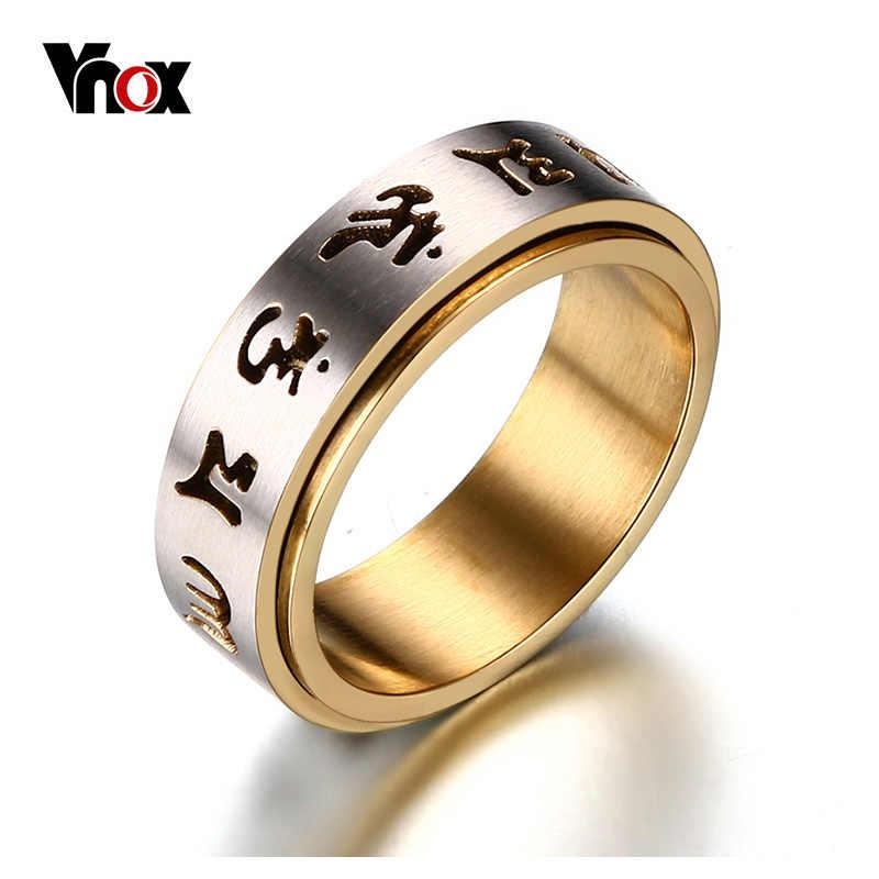 """Vnox สวดมนต์แหวนผู้ชายสแตนเลสทิเบตพุทธหก True Syllable Mantra """"OM Mani Padme Hum"""" SPINNER แหวน"""