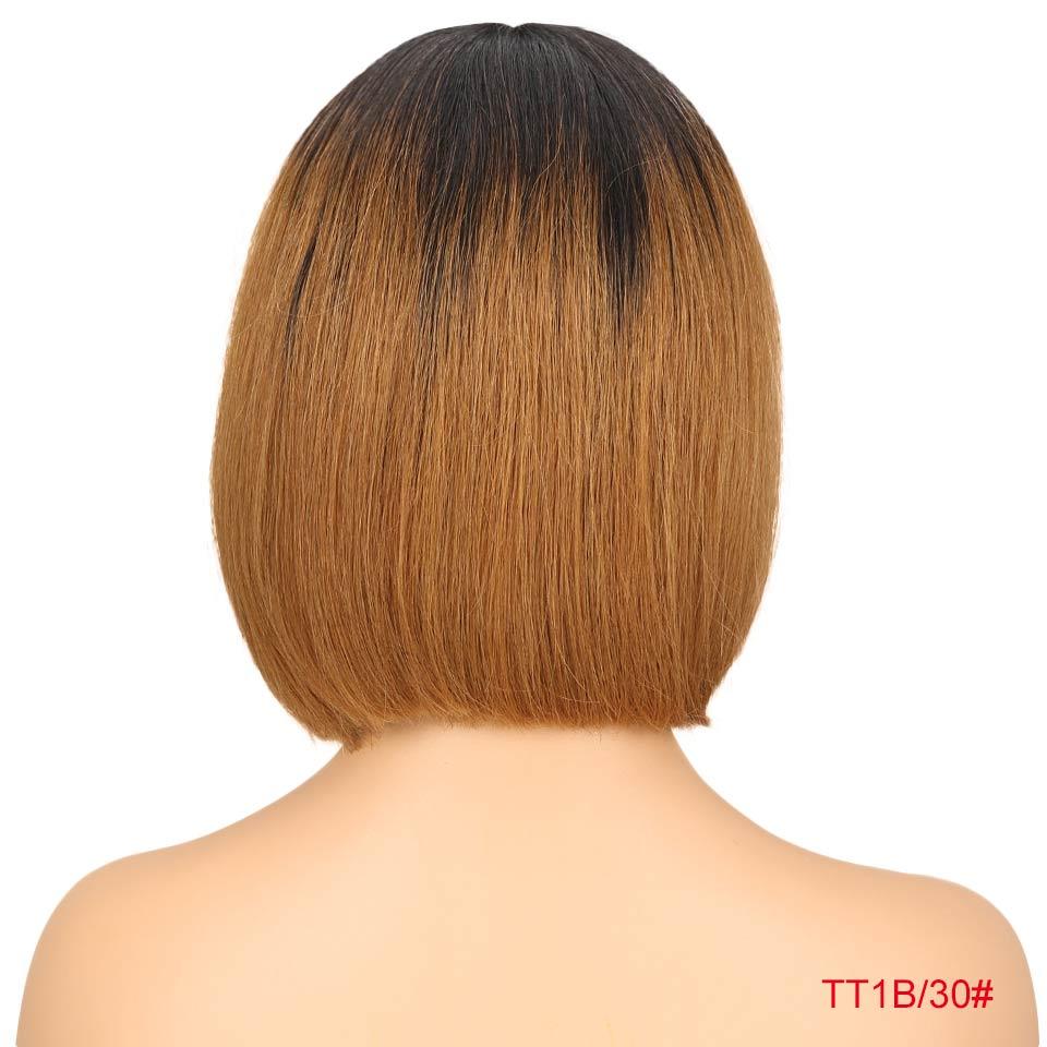 """Rebecca bob парики на кружеве для черных женщин перуанские короткие парики из человеческих волос Омбре человеческие волосы парик Средняя часть 1"""" - Цвет волос: T1B 30"""