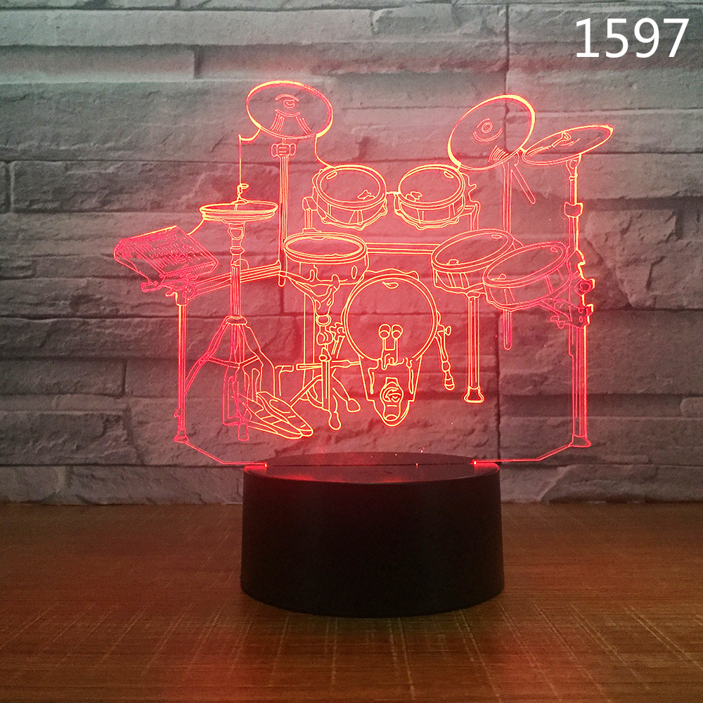 Musical Guitar Drum Set Saxophone Music Notes 3D Night Lamp 7/16 Colors Remote Kids Friends Gift Toys Fashion Decor Dropshipping