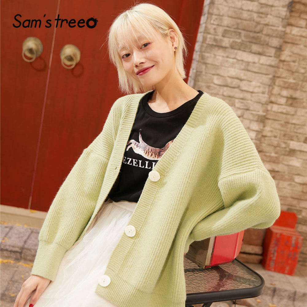 SAM'S TREE Green Solid Single Button Knit Cardigans Sweater Women 2020 Spring White Long Sleeve Loose Casual Ladies Daily Tops