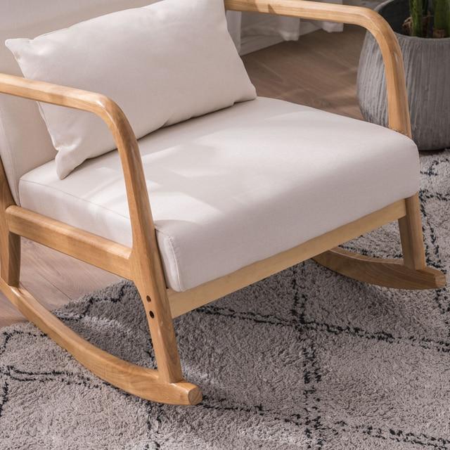 Rocking Chair Fabric Recliner w/ Ottoman 5