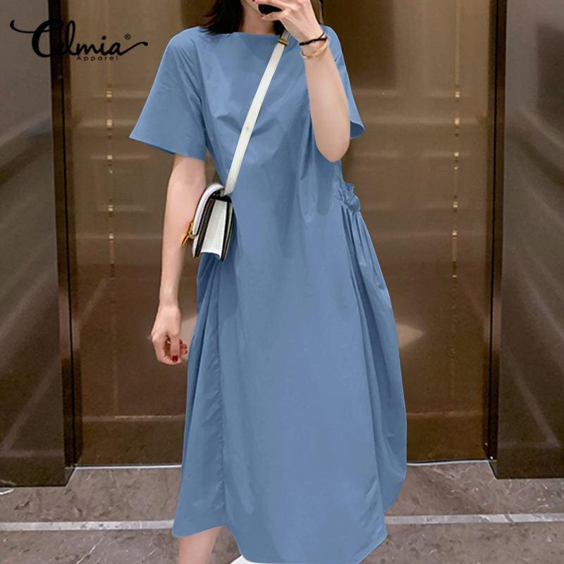 Fashion Shirt Dress 2020 Celmia Summer Women Short Sleeve Vintage Sundress Casual Loose Pockets Solid Pleated Beach Midi Vestido