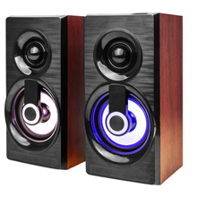 Computer Speaker Multimedia Subwoofer-And-Light Mini 2 Wood with for Laptop/desktop 2pcs