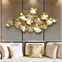 Luxury Modern Wrought Iron 3D Stereo Metal Lotus Leaf Mural Craft Wall Decoration Sofa Background Wall Hanging Ornament Pattern