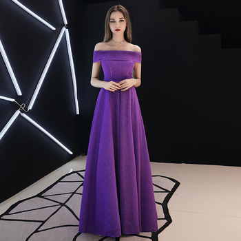 Holievery Purple Composite silk Long Bridesmaid Dress New Off Shoulder Party Dresses Red Burgundy Maxi Gown