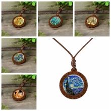 Hot Sale Starry Night Van Gogh Art Oil Painting Dome Glass Pendant Necklace Accessories Wooden Pendant Jewelry Personality Gift