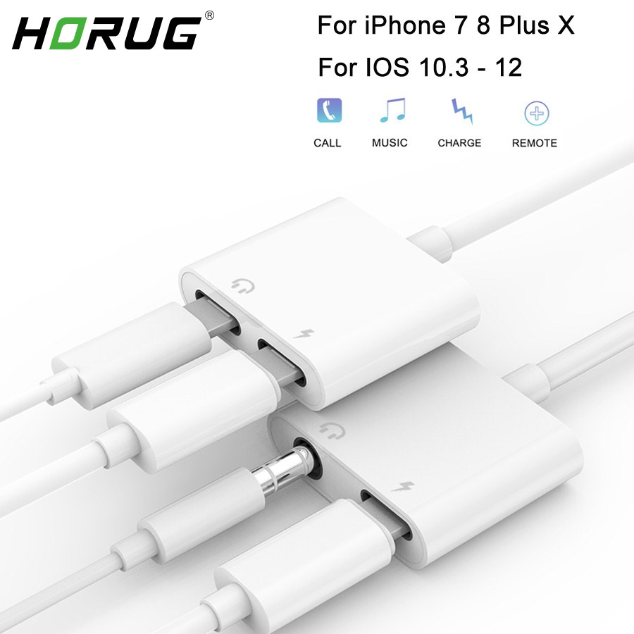HORUG 2 in 1 Headphone <font><b>Adapter</b></font> For <font><b>iPhone</b></font> 7 8 X XS XR Phone <font><b>Jack</b></font> <font><b>Adapter</b></font> For Lightning To 3.5mm Audio Headphone Cable Charging image
