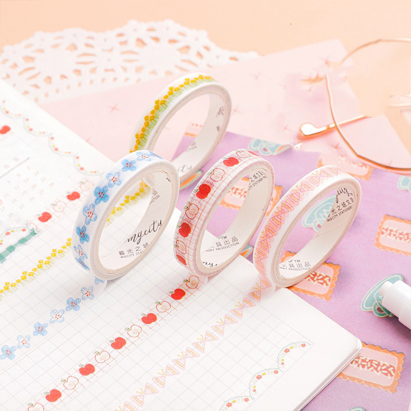 Mohamm Edge Decoration Series Washi Tape Japanese Stationery Kawaii Pink Masking  Cute Scrapbooking Girl Gift Decoration School